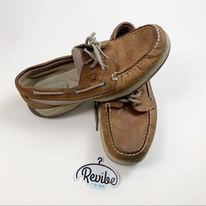 Sperry Womens Brown Tie-up Boat Shoes E3584